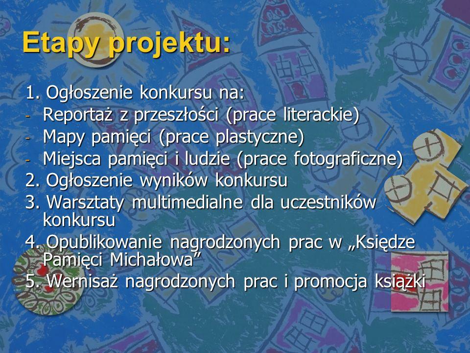 Etapy projektu: 1. Ogłoszenie konkursu na: - Reportaż z przeszłości (prace literackie) - Mapy pamięci (prace plastyczne) - Miejsca pamięci i ludzie (p
