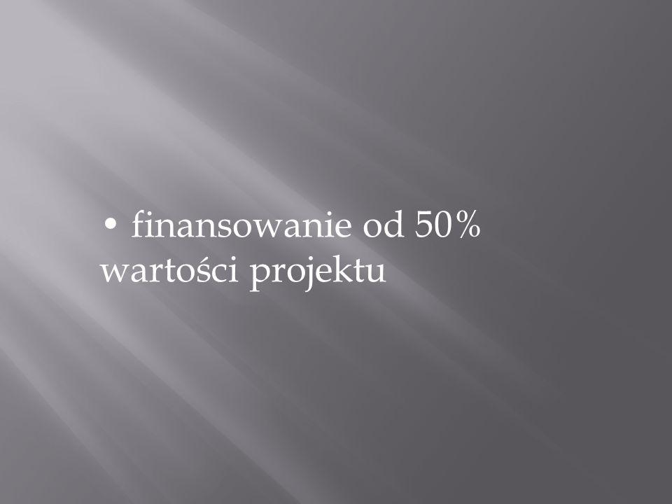 finansowanie od 50% wartości projektu