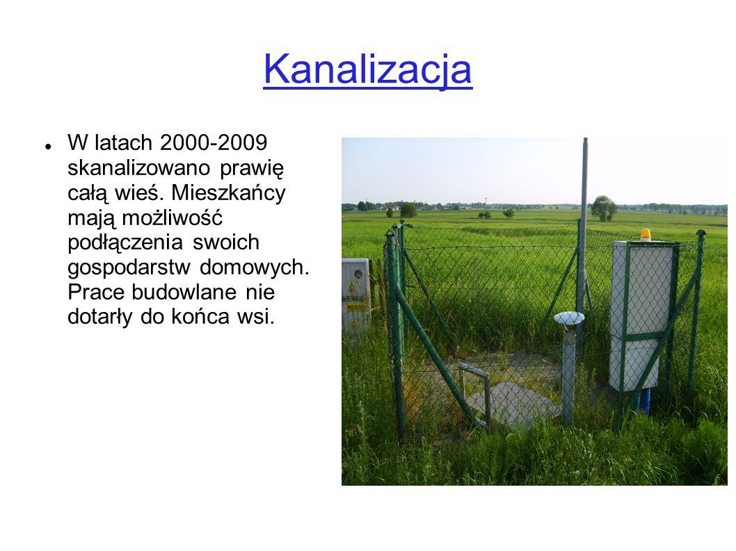 Kanalizacja W latach 2000-2009 skanalizowano prawię całą wieś. Mieszkańcy mają możliwość podłączenia swoich gospodarstw domowych. Prace budowlane nie
