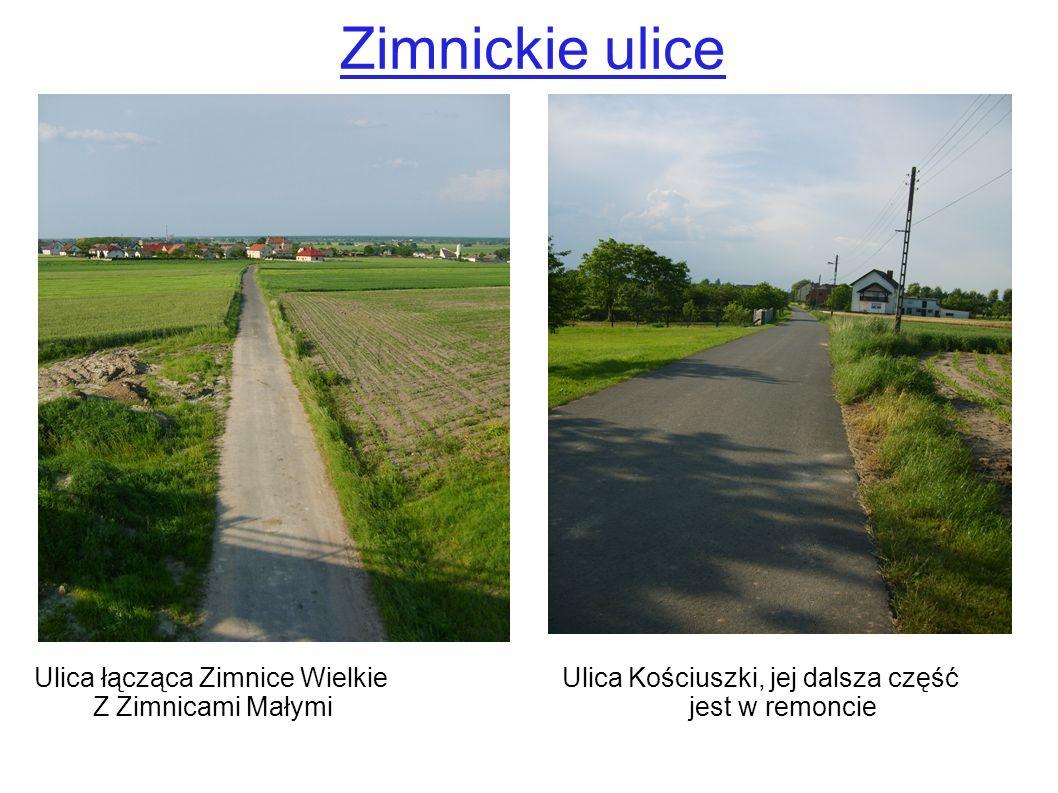 Zimnickie ulice Ulica łącząca Zimnice Wielkie Ulica Kościuszki, jej dalsza część Z Zimnicami Małymi jest w remoncie
