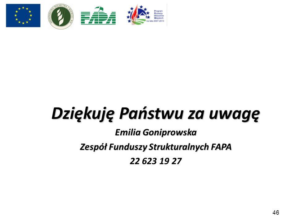 46 Dziękuję Państwu za uwagę Emilia Goniprowska Zespół Funduszy Strukturalnych FAPA 22 623 19 27