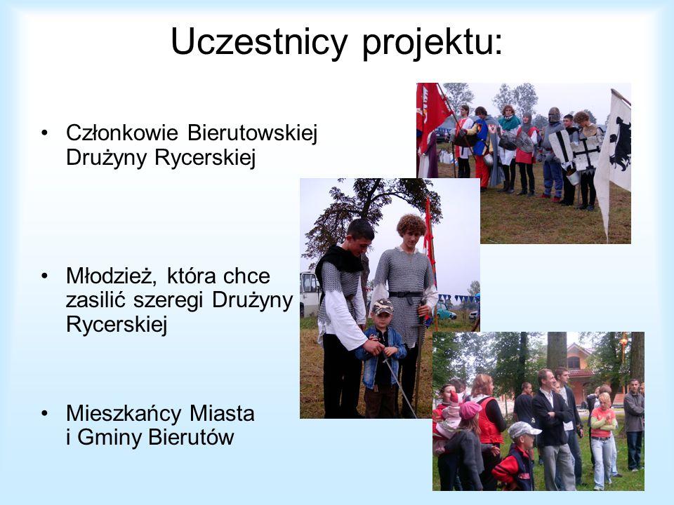 Uczestnicy projektu: Członkowie Bierutowskiej Drużyny Rycerskiej Młodzież, która chce zasilić szeregi Drużyny Rycerskiej Mieszkańcy Miasta i Gminy Bie