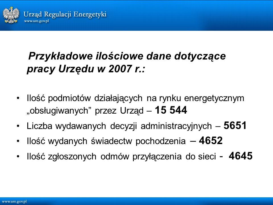 Przykładowe ilościowe dane dotyczące pracy Urzędu w 2007 r.: Ilość podmiotów działających na rynku energetycznym obsługiwanych przez Urząd – 15 544 Liczba wydawanych decyzji administracyjnych – 5651 Ilość wydanych świadectw pochodzenia – 4652 Ilość zgłoszonych odmów przyłączenia do sieci - 4645