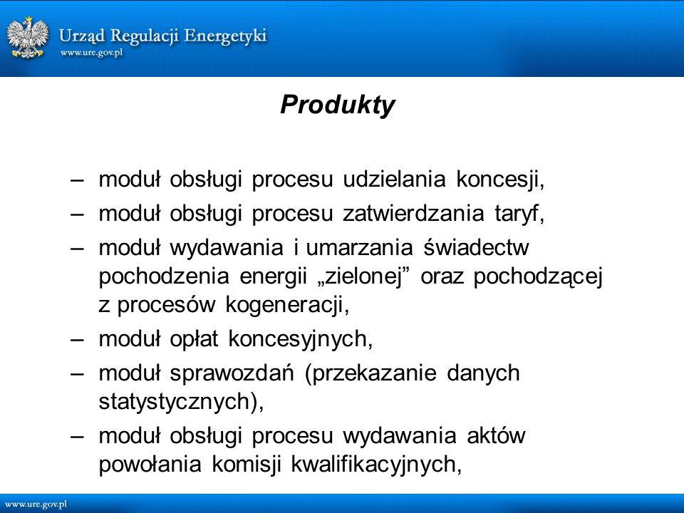 Produkty – moduł obsługi procesu udzielania koncesji, – moduł obsługi procesu zatwierdzania taryf, – moduł wydawania i umarzania świadectw pochodzenia energii zielonej oraz pochodzącej z procesów kogeneracji, – moduł opłat koncesyjnych, – moduł sprawozdań (przekazanie danych statystycznych), – moduł obsługi procesu wydawania aktów powołania komisji kwalifikacyjnych,