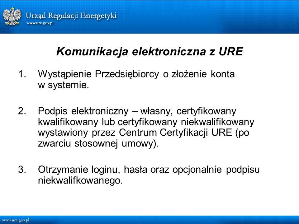 Komunikacja elektroniczna z URE 1.Wystąpienie Przedsiębiorcy o złożenie konta w systemie.