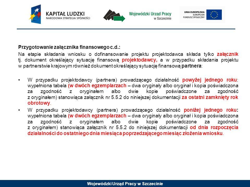 Wojewódzki Urząd Pracy w Szczecinie Przygotowanie załącznika finansowego c.d.: Na etapie składania wniosku o dofinansowanie projektu projektodawca skł