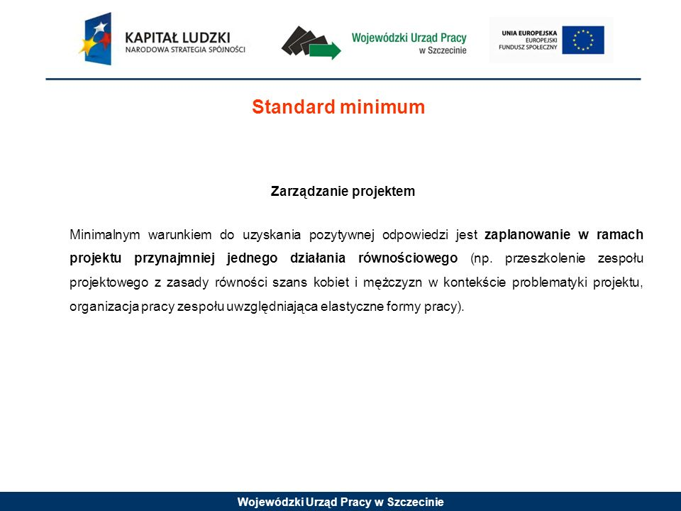 Wojewódzki Urząd Pracy w Szczecinie Standard minimum Zarządzanie projektem Minimalnym warunkiem do uzyskania pozytywnej odpowiedzi jest zaplanowanie w