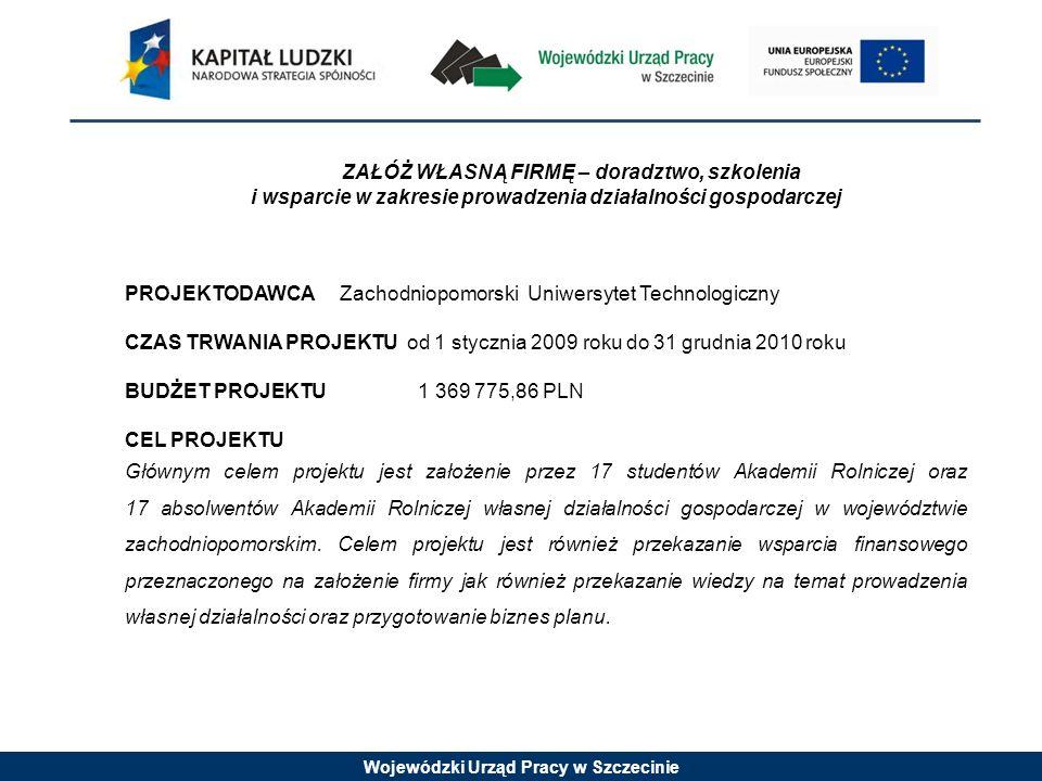 Wojewódzki Urząd Pracy w Szczecinie ZAŁÓŻ WŁASNĄ FIRMĘ – doradztwo, szkolenia i wsparcie w zakresie prowadzenia działalności gospodarczej PROJEKTODAWC