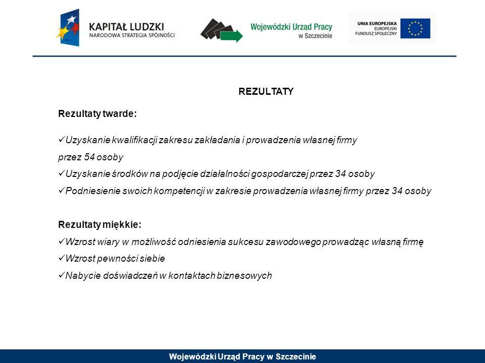 Wojewódzki Urząd Pracy w Szczecinie REZULTATY Rezultaty twarde: Uzyskanie kwalifikacji zakresu zakładania i prowadzenia własnej firmy przez 54 osoby U