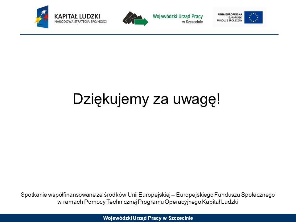 Wojewódzki Urząd Pracy w Szczecinie Spotkanie współfinansowane ze środków Unii Europejskiej – Europejskiego Funduszu Społecznego w ramach Pomocy Technicznej Programu Operacyjnego Kapitał Ludzki Dziękujemy za uwagę!