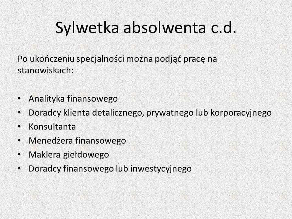 Sylwetka absolwenta c.d.