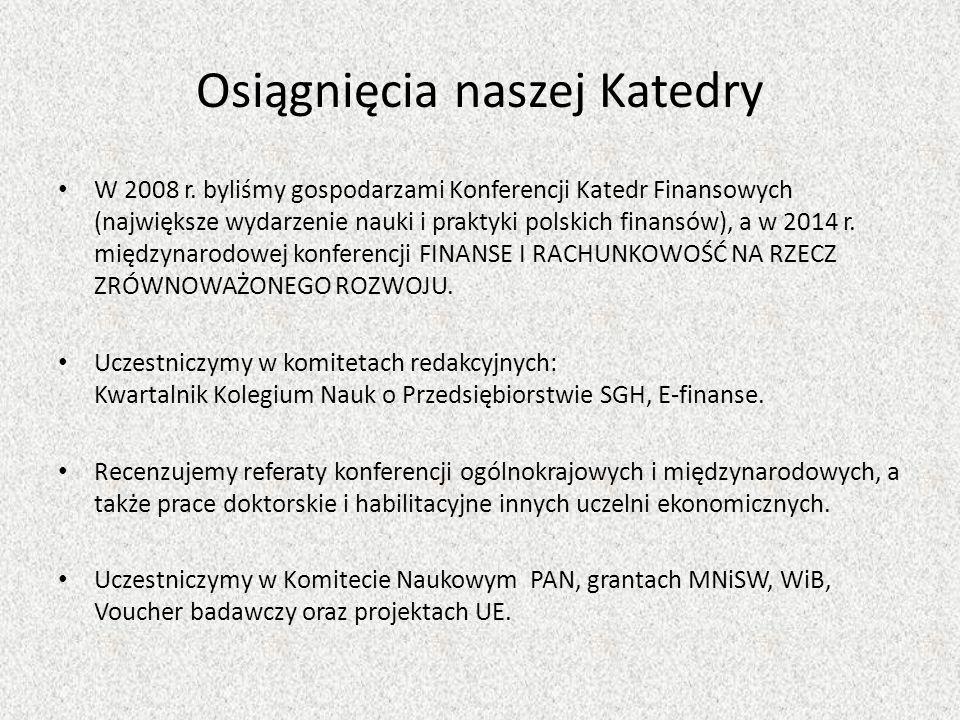 Osiągnięcia naszej Katedry W 2008 r.