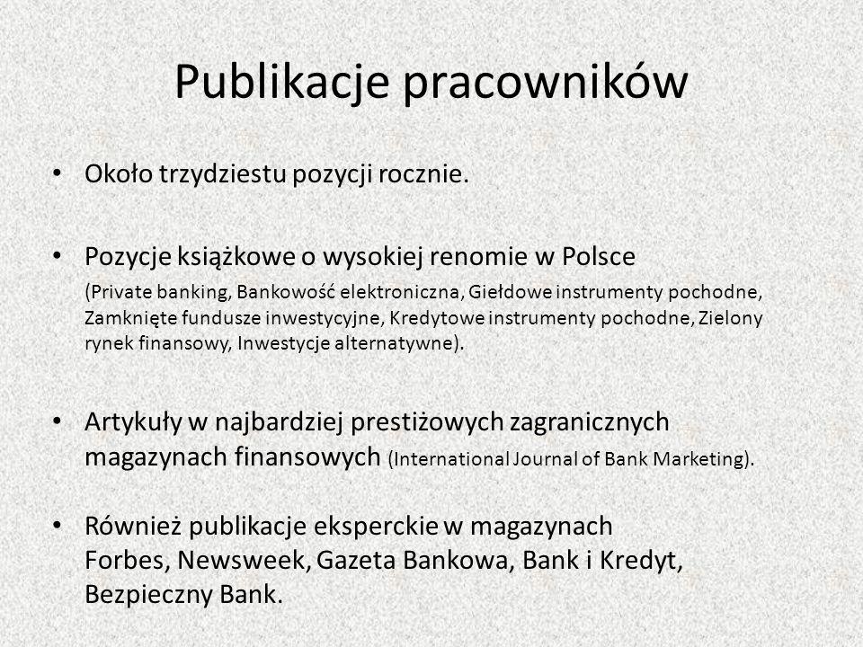 Publikacje pracowników Około trzydziestu pozycji rocznie.