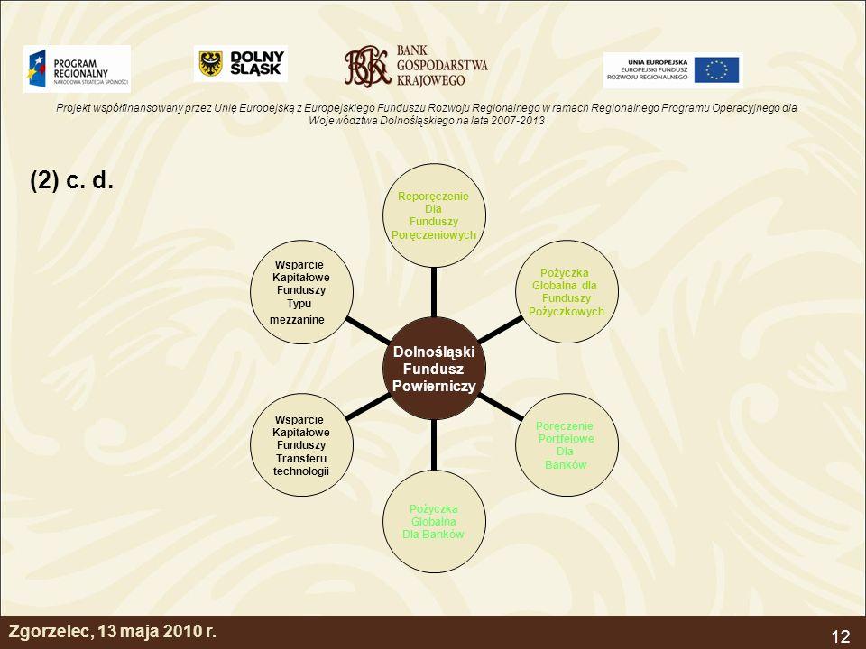 Projekt współfinansowany przez Unię Europejską z Europejskiego Funduszu Rozwoju Regionalnego w ramach Regionalnego Programu Operacyjnego dla Województwa Dolnośląskiego na lata 2007-2013 12 Zgorzelec, 13 maja 2010 r.