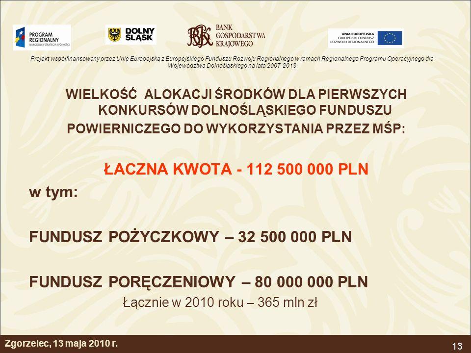 Projekt współfinansowany przez Unię Europejską z Europejskiego Funduszu Rozwoju Regionalnego w ramach Regionalnego Programu Operacyjnego dla Województwa Dolnośląskiego na lata 2007-2013 13 Zgorzelec, 13 maja 2010 r.