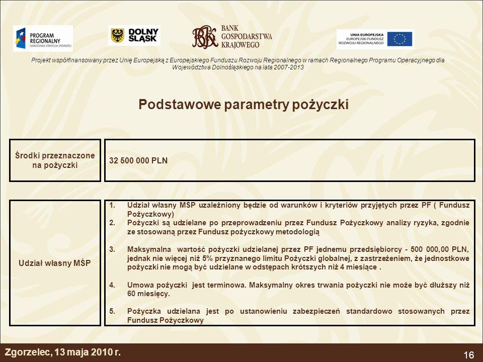 Projekt współfinansowany przez Unię Europejską z Europejskiego Funduszu Rozwoju Regionalnego w ramach Regionalnego Programu Operacyjnego dla Województwa Dolnośląskiego na lata 2007-2013 16 Podstawowe parametry pożyczki 32 500 000 PLN Środki przeznaczone na pożyczki 1.Udział własny MŚP uzależniony będzie od warunków i kryteriów przyjętych przez PF ( Fundusz Pożyczkowy) 2.Pożyczki są udzielane po przeprowadzeniu przez Fundusz Pożyczkowy analizy ryzyka, zgodnie ze stosowaną przez Fundusz pożyczkowy metodologią 3.Maksymalna wartość pożyczki udzielanej przez PF jednemu przedsiębiorcy - 500 000,00 PLN, jednak nie więcej niż 5% przyznanego limitu Pożyczki globalnej, z zastrzeżeniem, że jednostkowe pożyczki nie mogą być udzielane w odstępach krótszych niż 4 miesiące.