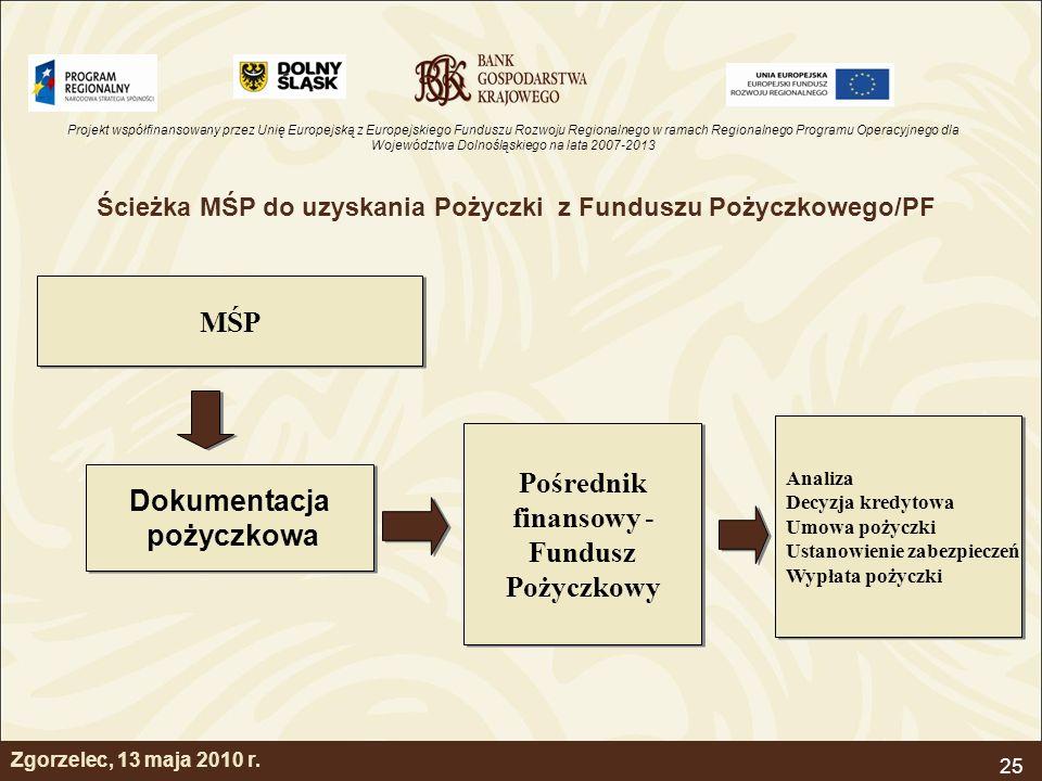 Projekt współfinansowany przez Unię Europejską z Europejskiego Funduszu Rozwoju Regionalnego w ramach Regionalnego Programu Operacyjnego dla Województwa Dolnośląskiego na lata 2007-2013 25 Zgorzelec, 13 maja 2010 r.