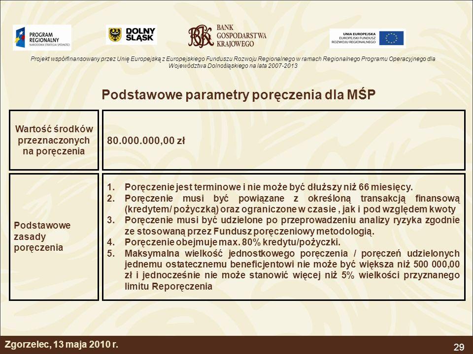 Projekt współfinansowany przez Unię Europejską z Europejskiego Funduszu Rozwoju Regionalnego w ramach Regionalnego Programu Operacyjnego dla Województwa Dolnośląskiego na lata 2007-2013 29 Zgorzelec, 13 maja 2010 r.