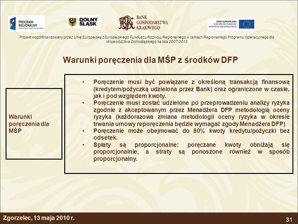 Projekt współfinansowany przez Unię Europejską z Europejskiego Funduszu Rozwoju Regionalnego w ramach Regionalnego Programu Operacyjnego dla Województwa Dolnośląskiego na lata 2007-2013 31 Zgorzelec, 13 maja 2010 r.