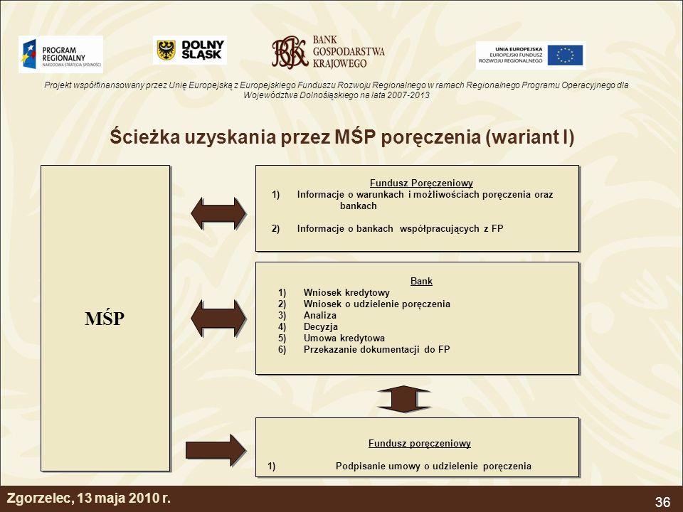 Projekt współfinansowany przez Unię Europejską z Europejskiego Funduszu Rozwoju Regionalnego w ramach Regionalnego Programu Operacyjnego dla Województwa Dolnośląskiego na lata 2007-2013 36 Zgorzelec, 13 maja 2010 r.