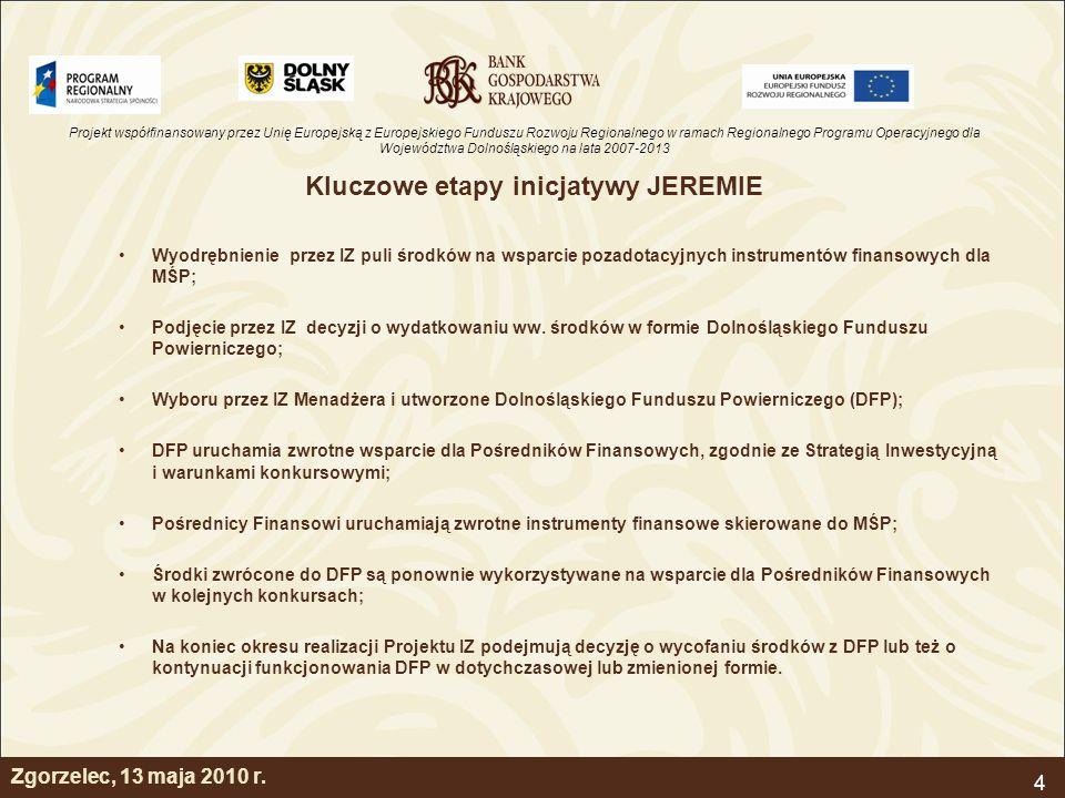 Projekt współfinansowany przez Unię Europejską z Europejskiego Funduszu Rozwoju Regionalnego w ramach Regionalnego Programu Operacyjnego dla Województwa Dolnośląskiego na lata 2007-2013 4 Kluczowe etapy inicjatywy JEREMIE Wyodrębnienie przez IZ puli środków na wsparcie pozadotacyjnych instrumentów finansowych dla MŚP; Podjęcie przez IZ decyzji o wydatkowaniu ww.