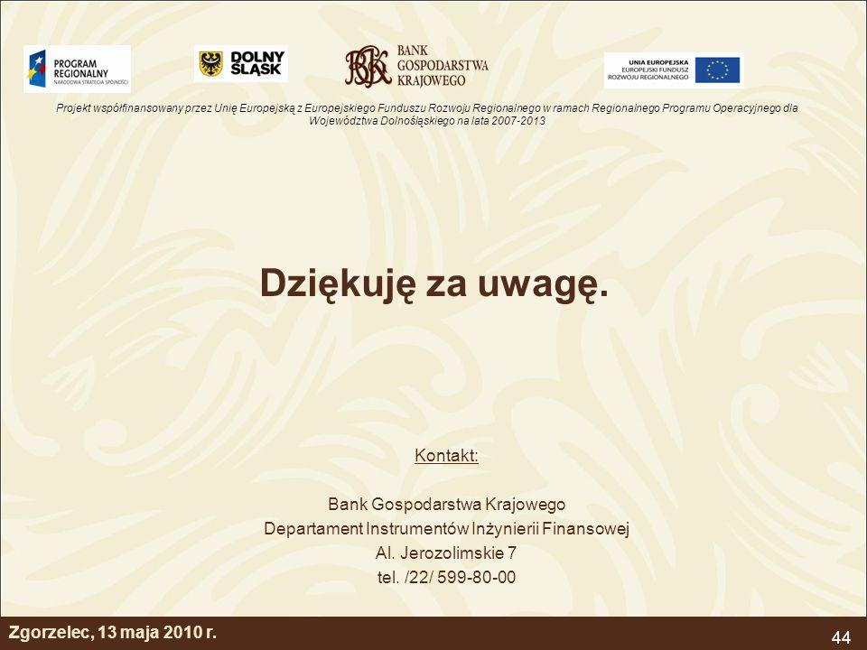 Projekt współfinansowany przez Unię Europejską z Europejskiego Funduszu Rozwoju Regionalnego w ramach Regionalnego Programu Operacyjnego dla Województwa Dolnośląskiego na lata 2007-2013 44 Dziękuję za uwagę.