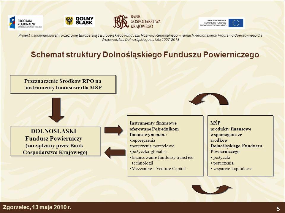 Projekt współfinansowany przez Unię Europejską z Europejskiego Funduszu Rozwoju Regionalnego w ramach Regionalnego Programu Operacyjnego dla Województwa Dolnośląskiego na lata 2007-2013 5 Schemat struktury Dolnośląskiego Funduszu Powierniczego Przeznaczenie Środków RPO na instrumenty finansowe dla MŚP Przeznaczenie Środków RPO na instrumenty finansowe dla MŚP DOLNOŚLASKI Fundusz Powierniczy (zarządzany przez Bank Gospodarstwa Krajowego) DOLNOŚLASKI Fundusz Powierniczy (zarządzany przez Bank Gospodarstwa Krajowego) Instrumenty finansowe oferowane Pośrednikom finansowym m.in.: reporęczenia poręczenia portfelowe pożyczka globalna finansowanie funduszy transferu technologii Mezzanine i Venture Capital Instrumenty finansowe oferowane Pośrednikom finansowym m.in.: reporęczenia poręczenia portfelowe pożyczka globalna finansowanie funduszy transferu technologii Mezzanine i Venture Capital MŚP produkty finansowe wspomagane ze środków Dolnośląskiego Funduszu Powierniczego pożyczki poręczenia wsparcie kapitałowe MŚP produkty finansowe wspomagane ze środków Dolnośląskiego Funduszu Powierniczego pożyczki poręczenia wsparcie kapitałowe Zgorzelec, 13 maja 2010 r.