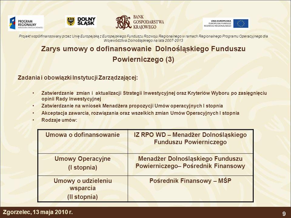 Projekt współfinansowany przez Unię Europejską z Europejskiego Funduszu Rozwoju Regionalnego w ramach Regionalnego Programu Operacyjnego dla Województwa Dolnośląskiego na lata 2007-2013 9 Zarys umowy o dofinansowanie Dolnośląskiego Funduszu Powierniczego (3) Zadania i obowiązki Instytucji Zarządzającej: Zatwierdzanie zmian i aktualizacji Strategii Inwestycyjnej oraz Kryteriów Wyboru po zasięgnięciu opinii Rady Inwestycyjnej Zatwierdzanie na wniosek Menadżera propozycji Umów operacyjnych I stopnia Akceptacja zawarcia, rozwiązania oraz wszelkich zmian Umów Operacyjnych I stopnia Rodzaje umów: Umowa o dofinansowanieIZ RPO WD – Menadżer Dolnośląskiego Funduszu Powierniczego Umowy Operacyjne (I stopnia) Menadżer Dolnośląskiego Funduszu Powierniczego– Pośrednik Finansowy Umowy o udzieleniu wsparcia (II stopnia) Pośrednik Finansowy – MŚP Zgorzelec, 13 maja 2010 r.