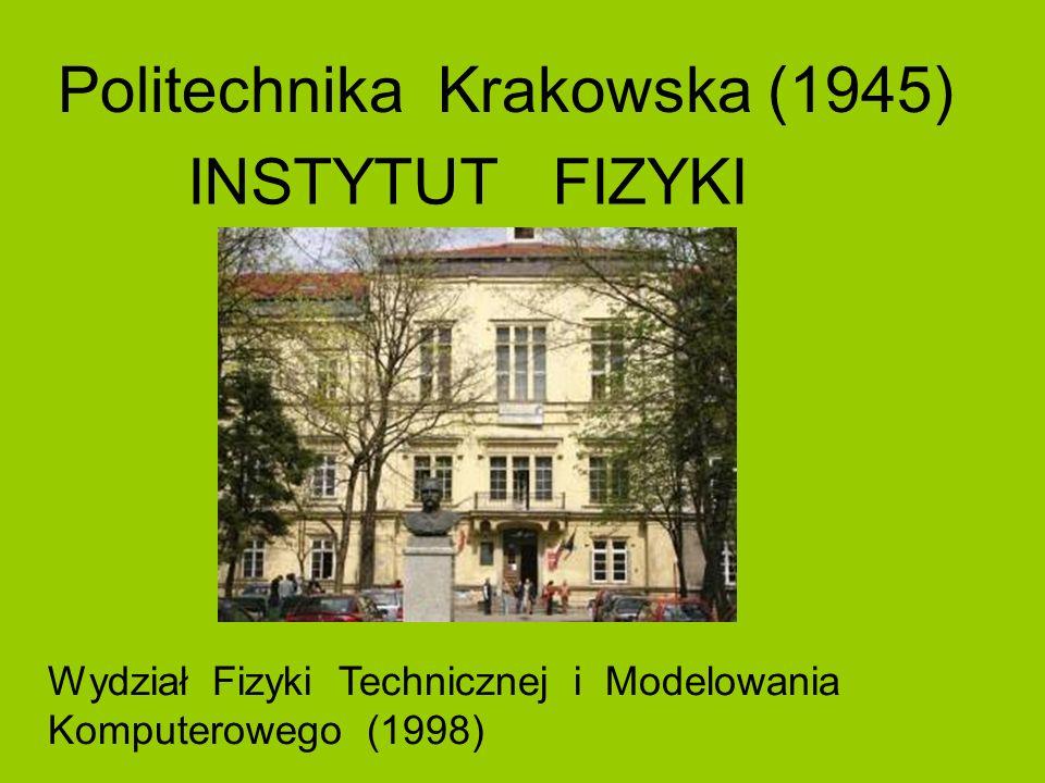 Politechnika Krakowska (1945) Wydział Fizyki Technicznej i Modelowania Komputerowego (1998) INSTYTUT FIZYKI