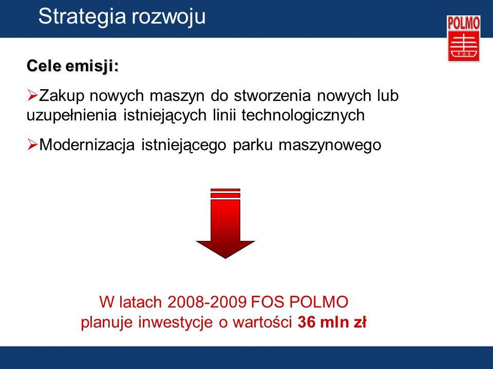 Strategia rozwoju Cele emisji: Zakup nowych maszyn do stworzenia nowych lub uzupełnienia istniejących linii technologicznych Modernizacja istniejącego parku maszynowego W latach 2008-2009 FOS POLMO planuje inwestycje o wartości 36 mln zł