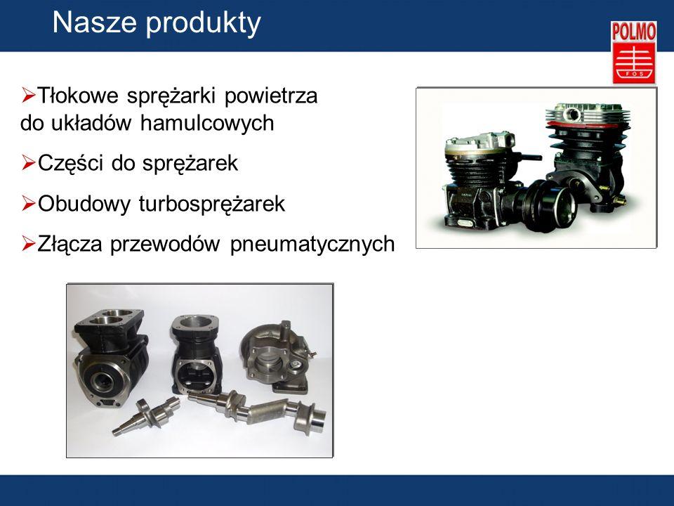 Nasze produkty Tłokowe sprężarki powietrza do układów hamulcowych Części do sprężarek Obudowy turbosprężarek Złącza przewodów pneumatycznych