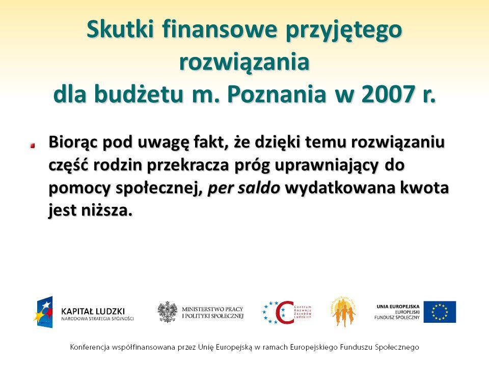Skutki finansowe przyjętego rozwiązania dla budżetu m. Poznania w 2007 r. Biorąc pod uwagę fakt, że dzięki temu rozwiązaniu część rodzin przekracza pr