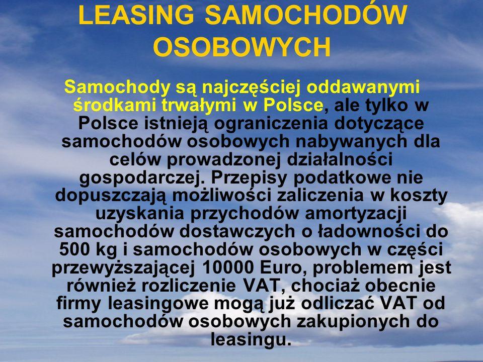 LEASING SAMOCHODÓW OSOBOWYCH Samochody są najczęściej oddawanymi środkami trwałymi w Polsce, ale tylko w Polsce istnieją ograniczenia dotyczące samoch