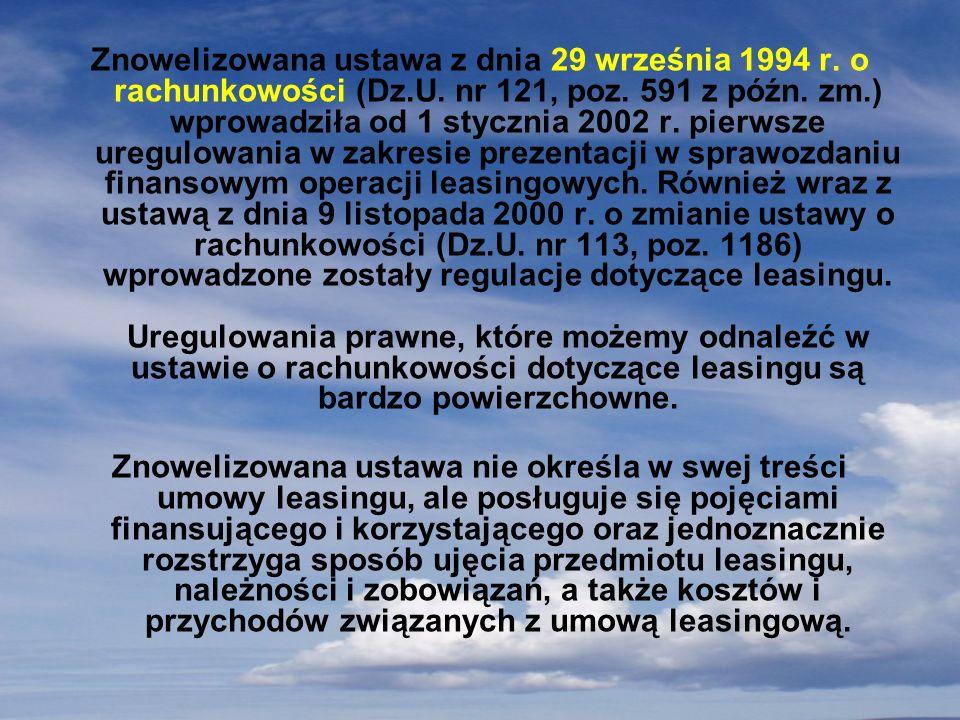 Znowelizowana ustawa z dnia 29 września 1994 r. o rachunkowości (Dz.U. nr 121, poz. 591 z późn. zm.) wprowadziła od 1 stycznia 2002 r. pierwsze uregul