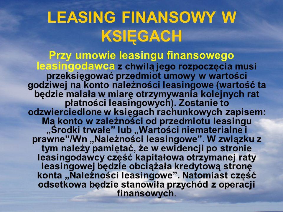 LEASING FINANSOWY W KSIĘGACH Przy umowie leasingu finansowego leasingodawca z chwilą jego rozpoczęcia musi przeksięgować przedmiot umowy w wartości go