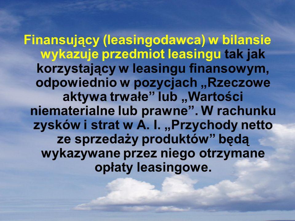 Finansujący (leasingodawca) w bilansie wykazuje przedmiot leasingu tak jak korzystający w leasingu finansowym, odpowiednio w pozycjach Rzeczowe aktywa