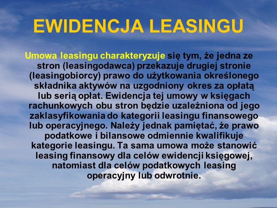 EWIDENCJA LEASINGU Umowa leasingu charakteryzuje się tym, że jedna ze stron (leasingodawca) przekazuje drugiej stronie (leasingobiorcy) prawo do użytk
