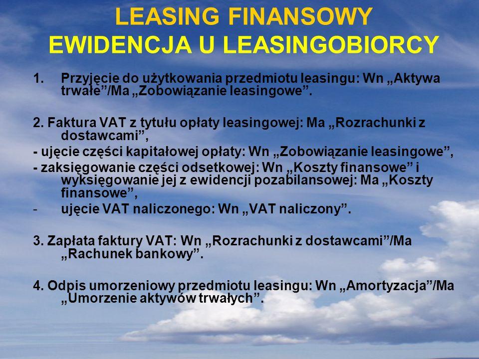 1.Przyjęcie do użytkowania przedmiotu leasingu: Wn Aktywa trwałe/Ma Zobowiązanie leasingowe. 2. Faktura VAT z tytułu opłaty leasingowej: Ma Rozrachunk