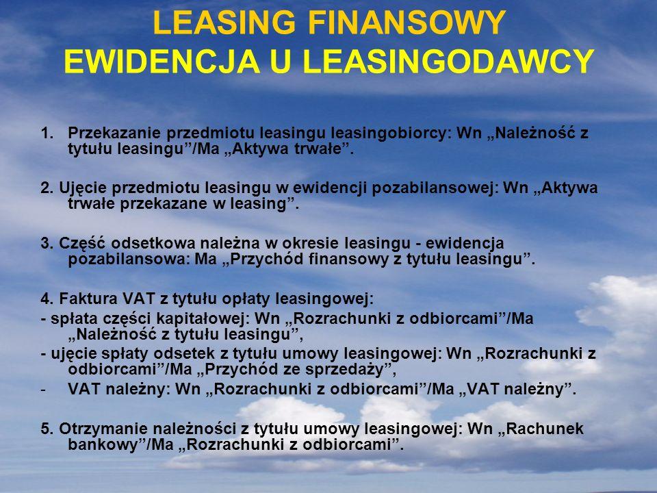 LEASING FINANSOWY EWIDENCJA U LEASINGODAWCY 1.Przekazanie przedmiotu leasingu leasingobiorcy: Wn Należność z tytułu leasingu/Ma Aktywa trwałe. 2. Ujęc
