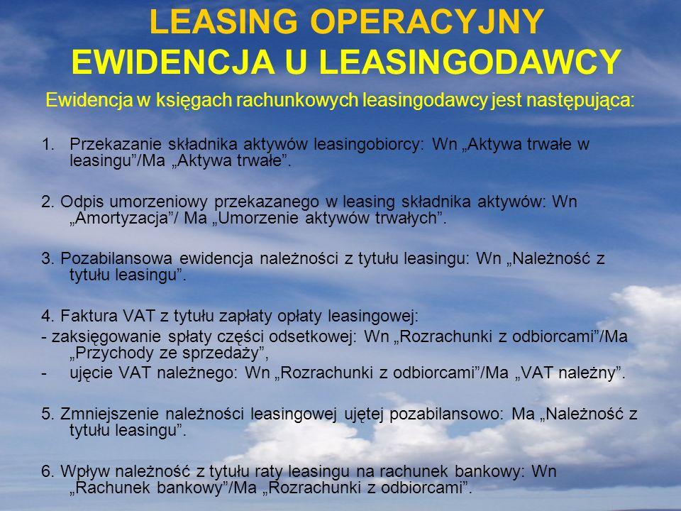 Ewidencja w księgach rachunkowych leasingodawcy jest następująca: 1.Przekazanie składnika aktywów leasingobiorcy: Wn Aktywa trwałe w leasingu/Ma Aktyw