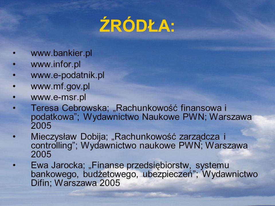 ŹRÓDŁA: www.bankier.pl www.infor.pl www.e-podatnik.pl www.mf.gov.pl www.e-msr.pl Teresa Cebrowska; Rachunkowość finansowa i podatkowa; Wydawnictwo Nau
