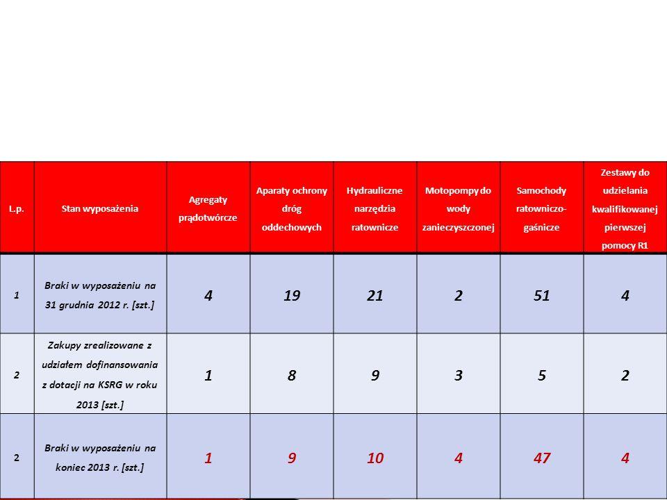 L.p.Stan wyposażenia Agregaty prądotwórcze Aparaty ochrony dróg oddechowych Hydrauliczne narzędzia ratownicze Motopompy do wody zanieczyszczonej Samochody ratowniczo- gaśnicze Zestawy do udzielania kwalifikowanej pierwszej pomocy R1 1 Braki w wyposażeniu na 31 grudnia 2012 r.