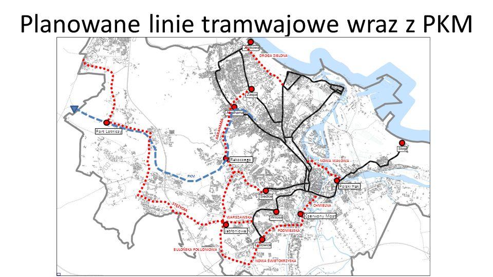 Planowane linie tramwajowe Jabłoniowa Rakoczego Czerwony Most Polski Hak Port Lotniczy NOWA ŚWIETOKRZYSKA PODMIEJSKA CHMIELNA BULOŃSKA POŁUDNIOWA WARSZAWSKA DROGA ZIELONA NOWA WAŁOWA ABRAHAMA PKM