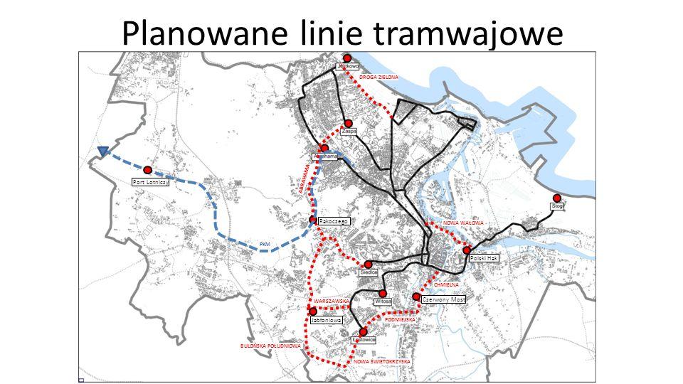 Planowane linie tramwajowe Jabłoniowa Rakoczego Czerwony Most Polski Hak Port Lotniczy NOWA ŚWIETOKRZYSKA PODMIEJSKA CHMIELNA BULOŃSKA POŁUDNIOWA WARSZAWSKA DROGA ZIELONA NOWA WAŁOWA PKM