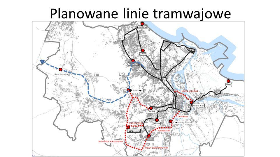Planowane linie tramwajowe Jabłoniowa Rakoczego Czerwony Most Polski Hak Port Lotniczy NOWA ŚWIETOKRZYSKA PODMIEJSKA CHMIELNA BULOŃSKA POŁUDNIOWA WARS