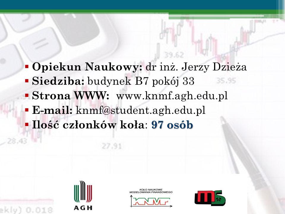 Opiekun Naukowy: dr inż. Jerzy Dzieża Siedziba: budynek B7 pokój 33 Strona WWW: www.knmf.agh.edu.pl E-mail: knmf@student.agh.edu.pl 97 osób Ilość czło