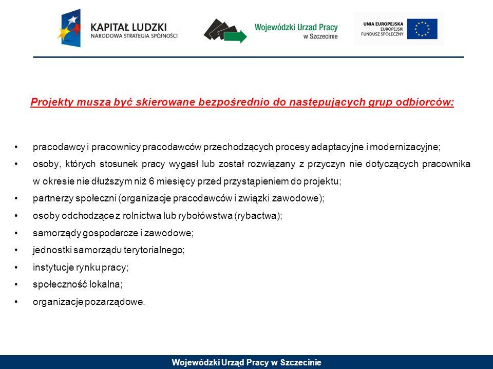Wojewódzki Urząd Pracy w Szczecinie Projekty muszą być skierowane bezpośrednio do następujących grup odbiorców: pracodawcy i pracownicy pracodawców przechodzących procesy adaptacyjne i modernizacyjne; osoby, których stosunek pracy wygasł lub został rozwiązany z przyczyn nie dotyczących pracownika w okresie nie dłuższym niż 6 miesięcy przed przystąpieniem do projektu; partnerzy społeczni (organizacje pracodawców i związki zawodowe); osoby odchodzące z rolnictwa lub rybołówstwa (rybactwa); samorządy gospodarcze i zawodowe; jednostki samorządu terytorialnego; instytucje rynku pracy; społeczność lokalna; organizacje pozarządowe.