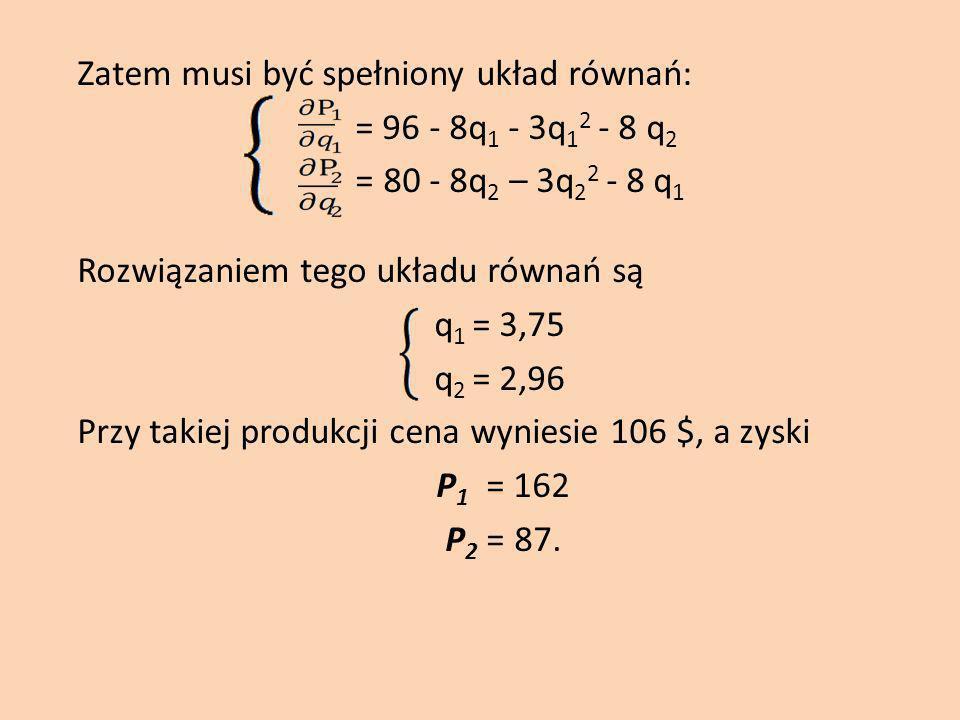 Zatem musi być spełniony układ równań: = 96 - 8q 1 - 3q 1 2 - 8 q 2 = 80 - 8q 2 – 3q 2 2 - 8 q 1 Rozwiązaniem tego układu równań są q 1 = 3,75 q 2 = 2,96 Przy takiej produkcji cena wyniesie 106 $, a zyski P 1 = 162 P 2 = 87.