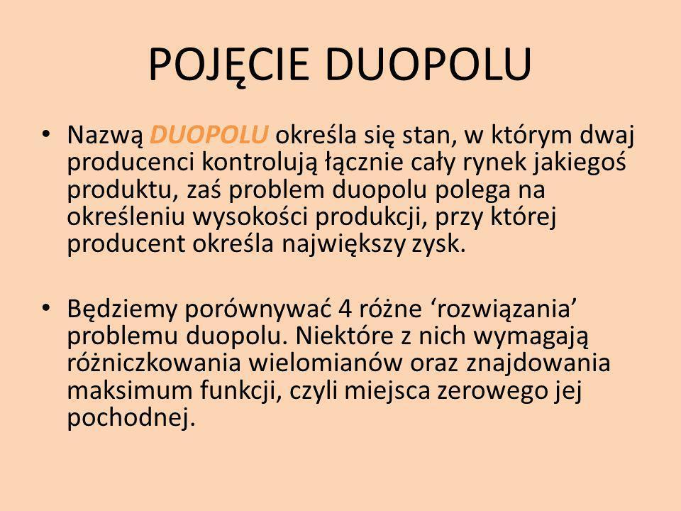 POJĘCIE DUOPOLU Nazwą DUOPOLU określa się stan, w którym dwaj producenci kontrolują łącznie cały rynek jakiegoś produktu, zaś problem duopolu polega na określeniu wysokości produkcji, przy której producent określa największy zysk.