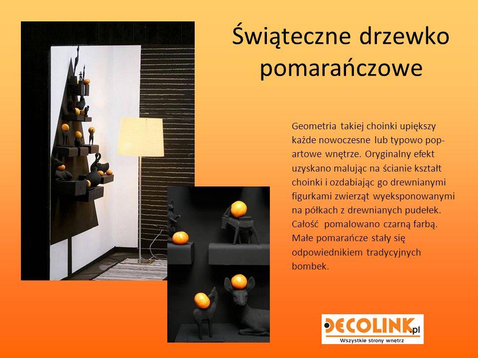 Świąteczne drzewko pomarańczowe Geometria takiej choinki upiększy każde nowoczesne lub typowo pop- artowe wnętrze.